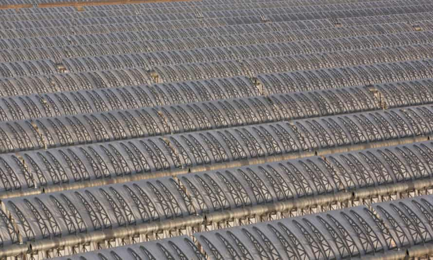 The Ouarzazate solar plant, in Morocco, a 500-megawatt complex that includes both PV and CSP. The CSP solar thermal power plant has a full-load molten salt storage capacity of three hours.