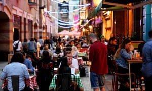 Diners in Kingly Street, London, on the first day of the 'eat out to help out' scheme.
