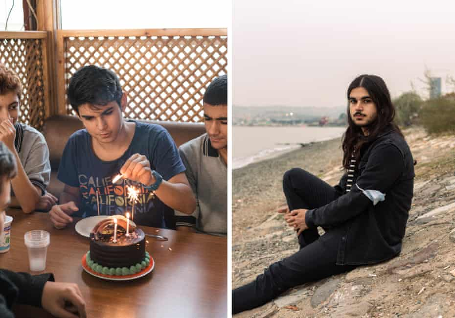 A composite picture of Halil Erdem lighting candles on a cake with friends on his 16th birthday, left, and sitting by the water in Izmir at 20.