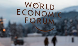 A sign for the World Economic Forum in Davos