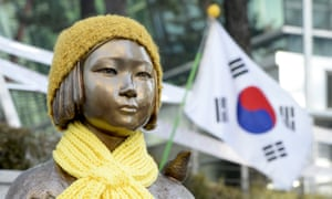 The 'comfort woman' statue in front of the Japanese embassy in Seoul, South Korea.