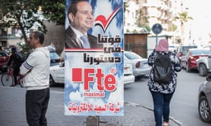 Billboards and panels are displayed in the streets of Cairo to encourage citizens to vote to extend Abdel Fatah al-Sisi's presidency