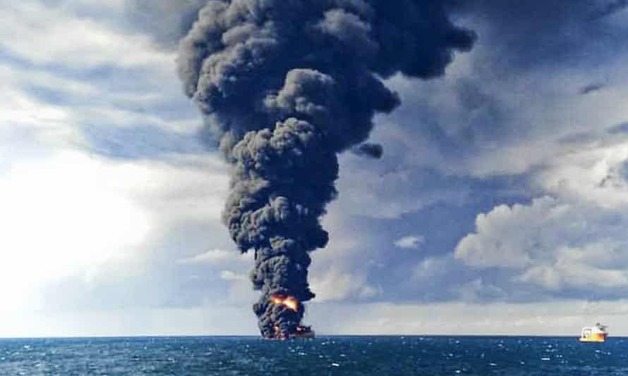 Smoke and flames from the burning Iranian oil tanker Sanchi in the East China Sea.