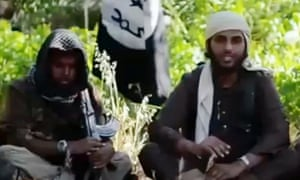 A screengrab from an Isis recruitment video showing Islamist fighters, who claim to be British.