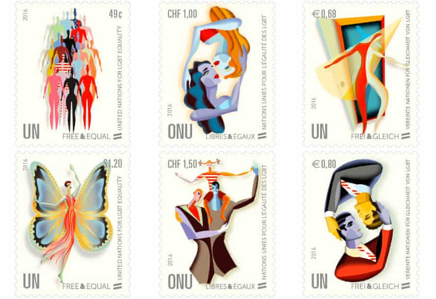 The new series of gay and lesbian stamps issued by the UN.