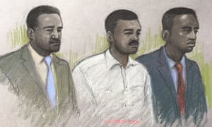 A court sketch of (from left) Merse Dikanda, Jonathan Okigbo and George Koh