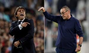 Inter's Antonio Conte will go head to head against Juventus's Maurizio Sarri on Sunday.