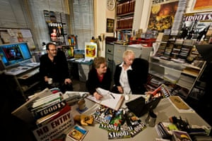 Ian A Anderson, assistant Sofi Mogensen and ad manager Gina Jennings in the London office of fRoots magazine, 2010.