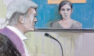 Court artist sketch by Elizabeth Cook of Lauren Jeska