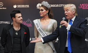 Donald Trump at the Miss Universe 2013 beauty contest with Venezuela's Gabriela Isler and Emin Agalarov in Moscow, Russia.