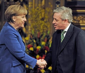 The German chancellor, Angela Merkel, is greeted by John Bercow before delivering a speech to both houses of parliament in 2014