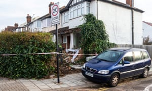 The scene at the corner of Grayscroft Road and Streatham Vale in South London where a 118 bus crashed into a house on December 26th. The house was empty at the time, the tenants who lived there having a lucky escape as they had vacated the premises on Christmas Eve.