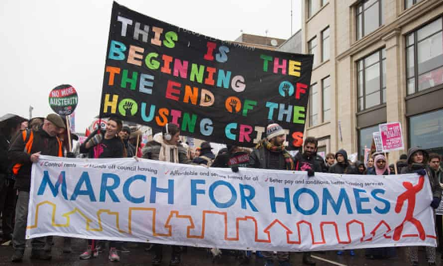 Tenants, housing campaigners and trade union activists on the recent March for Homes in Shoreditch.