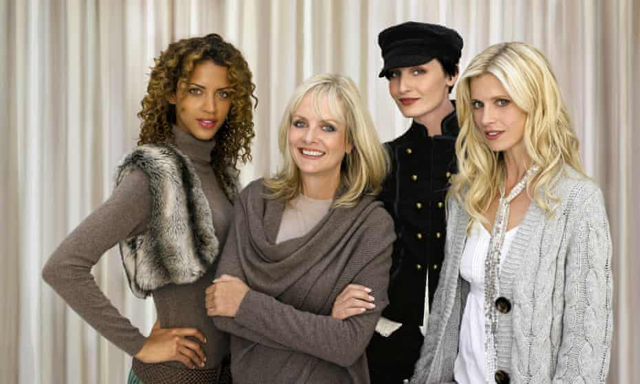 Twiggy with Noemie Lenoir, Erin O'Connor and Laura Bailey in 2015.