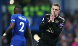 Jamie Vardy reacts to a missed chance – one of 12 attempts on goal Leicester created in the first half.