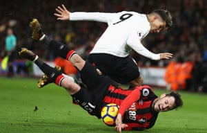 Bournemouth's Adam Smith is taken down by Liverpool's Roberto Firmino. The Liverpool player got on the score sheets as his team won 4-0 away at the Vitality Stadium. No side has scored more first-half Premier League goals this season than Liverpool's 19, although Manchester City have also scored 19 in the first half.