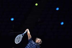 TENNIS-GBR-ATP-FINALSRussia's Daniil Medvedev serves to Serbia's Novak Djokovic.