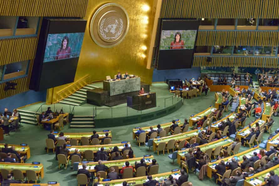 The UN general assembly in New York.