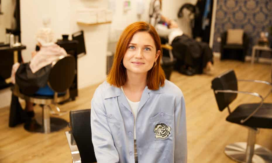 """LINCOLN, 23 May 2018 - Actor and director Bonnie Wright at Sincil hair salon in Lincoln where her version of AS Byatt's """"Medusa's Ankles"""" will be shown on computer screens as an installation at the hairdressers. Christopher Thomond for The Guardian."""