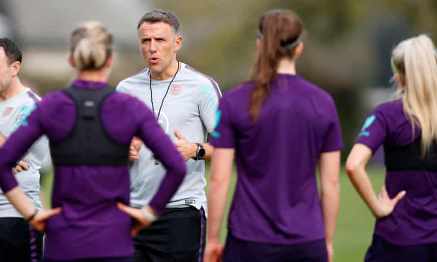 Phil Neville takes training in the US before the SheBelieves Cup.