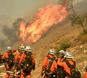 Fire camp crews work on the Woolsey fire in southern California.