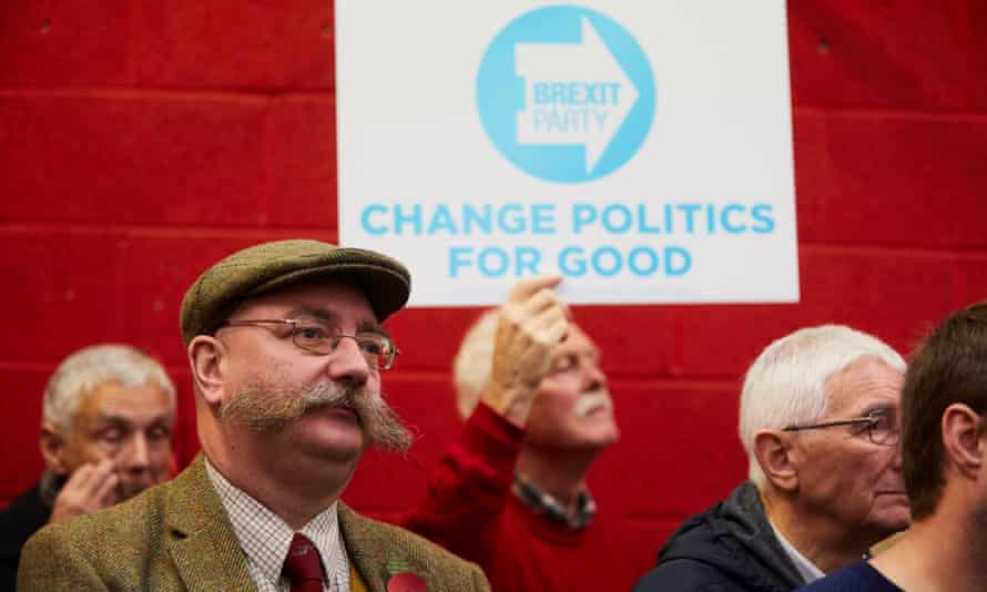 Brexit party supporters listen to Nigel Farage