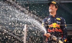 Daniel Ricciardo celebrates his victory in the Chinese Grand Prix