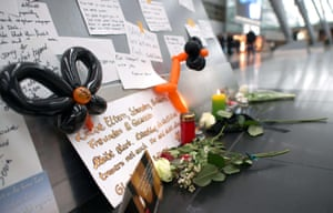Condolence messages for the victims of the Germanwings plane crash are pictured in the departure area of the airport Duesseldorf