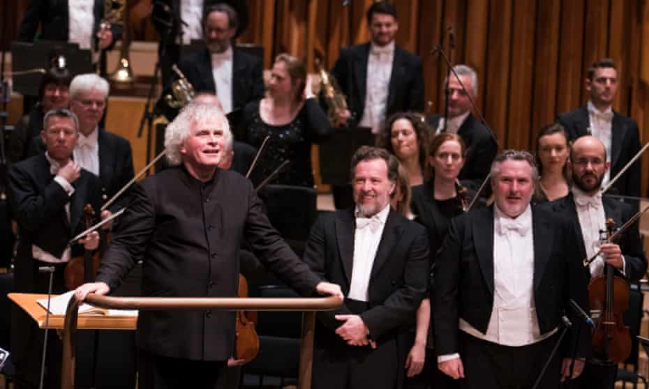 Simon Rattle with Christian Gerhaher, Simon O'Neill and the London Symphony Orchestra at Barbican Hall, London.