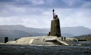 HMS Vigilant, a Royal Navy Vanguard-class submarine.