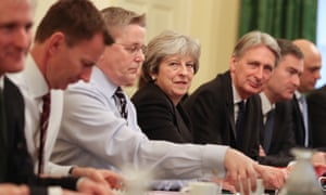 Theresa May with her reshuffled cabinet