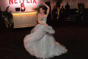 A twirl from Alison Brie at the Netflix party.