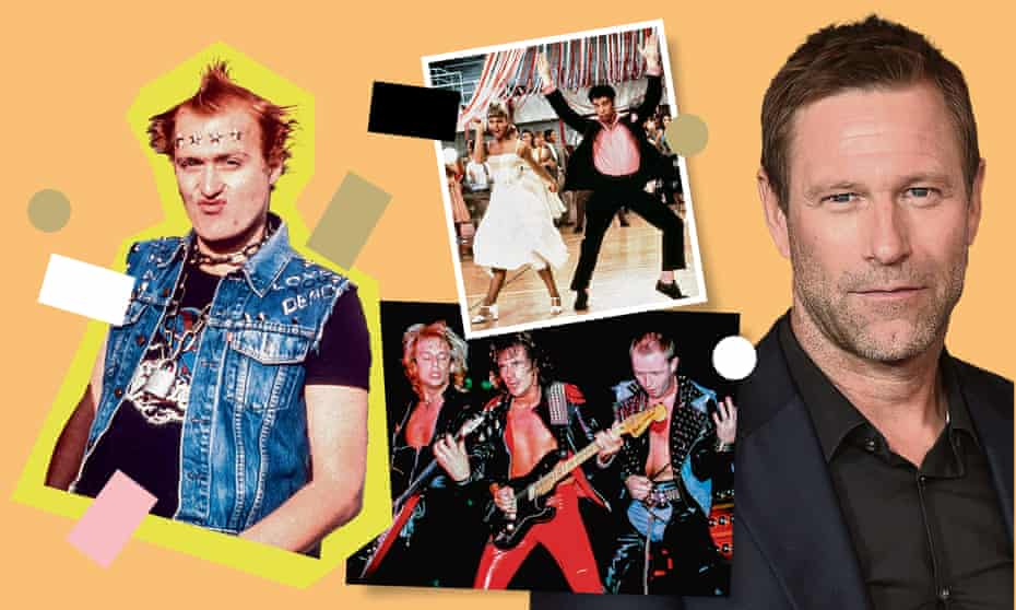 (Clockwise from right) Aaron Eckhart; Judas Priest; Adrian Edmondson in The Young Ones; and Olivia Newton-John and John Travolta in Grease