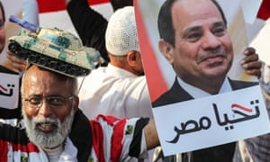 Supporters of President Abdel Fattah al-Sisi during a rally in Cairo