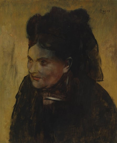 Degas's Portrait of a Woman. THe portrait had been criticised as early as 1922 because of the discolouration caused by the underlying image.
