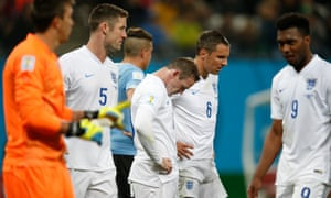 England players after their defeat to Uruguay in the 2014 World Cup in Brazil.