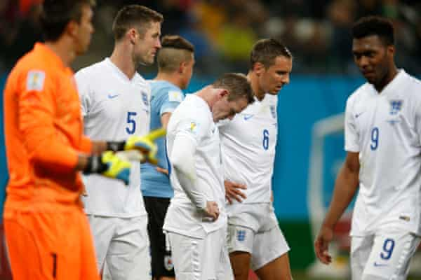 Members of the 2014 World Cup squad after losing to Uruguay at that tournament.