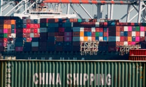 Shipping containers from China and other Asian countries being unloaded at the Port of Los Angeles.