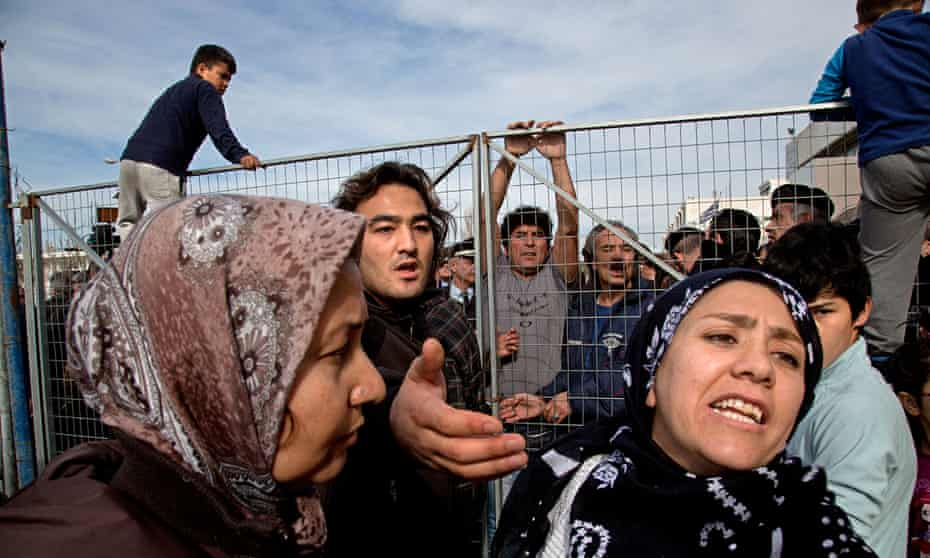 People at the Ellinikon refugee camp in Athens protest about the atrocious living conditions at the camp.