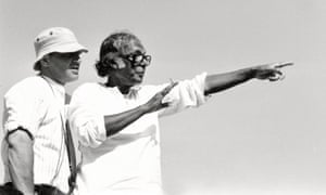 Mrinal Sen, right, on the set of Genesis, 1986. The message of the film is clear: the poor will remain poor, being always at the mercy of the powerful and prosperous.