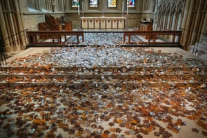 Southwell, UK. An artwork called the Leaves of the Trees is installed in the nave of Southwell minster. The work by the sculptor Peter Walker features 5,000 steel leaves, each engraved with the word 'hope', laid on the floor