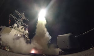 The  destroyer USS Porter launches a missile bound for Syria