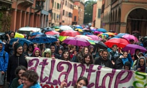 A demonstration takes to Bologna's streets on 10 October for #AtlantideOvunque – Atlantide is Everywhere.