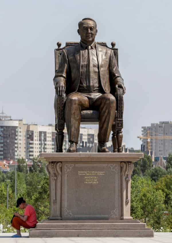 A statue of Nursultan Nazarbayev in in the Kazakh capital of Nur-Sultan