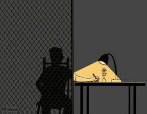 """Free hands"", a cartoon from Palestinian refugee from Syria, Mahmoud Salameh, who was formerly held in Australian immigration detention for 17 months."