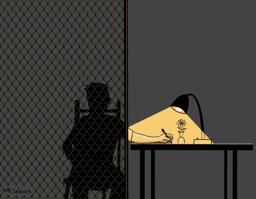 """""""Free hands"""", a cartoon from Palestinian refugee from Syria, Mahmoud Salameh, who was formerly held in Australian immigration detention for 17 months."""