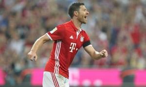 Xabi Alonso celebrates scoring Bayern Munich's opening goal in their recent 6-0 victory over Werder Bremen.