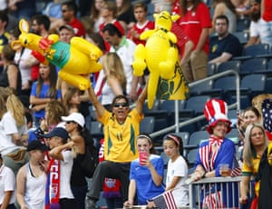 Aussie fans cheer for the Matildas before the group D match between the United States and Australia
