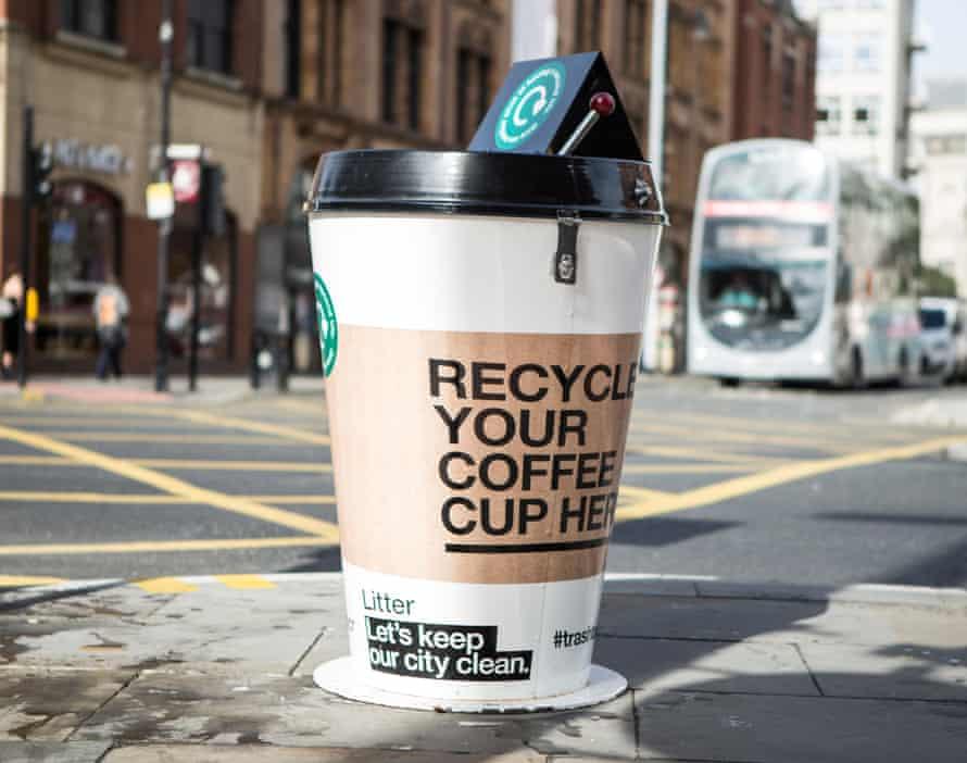 One of Hubbub's giant coffee cup bins