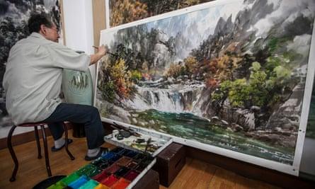 A Mansudae artist at work in Pyongyang